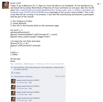 Jonas Lund 1,164,041 Or How I Failed In Getting The Guinness World Book Of Record Of Most Comments On A Facebook Post