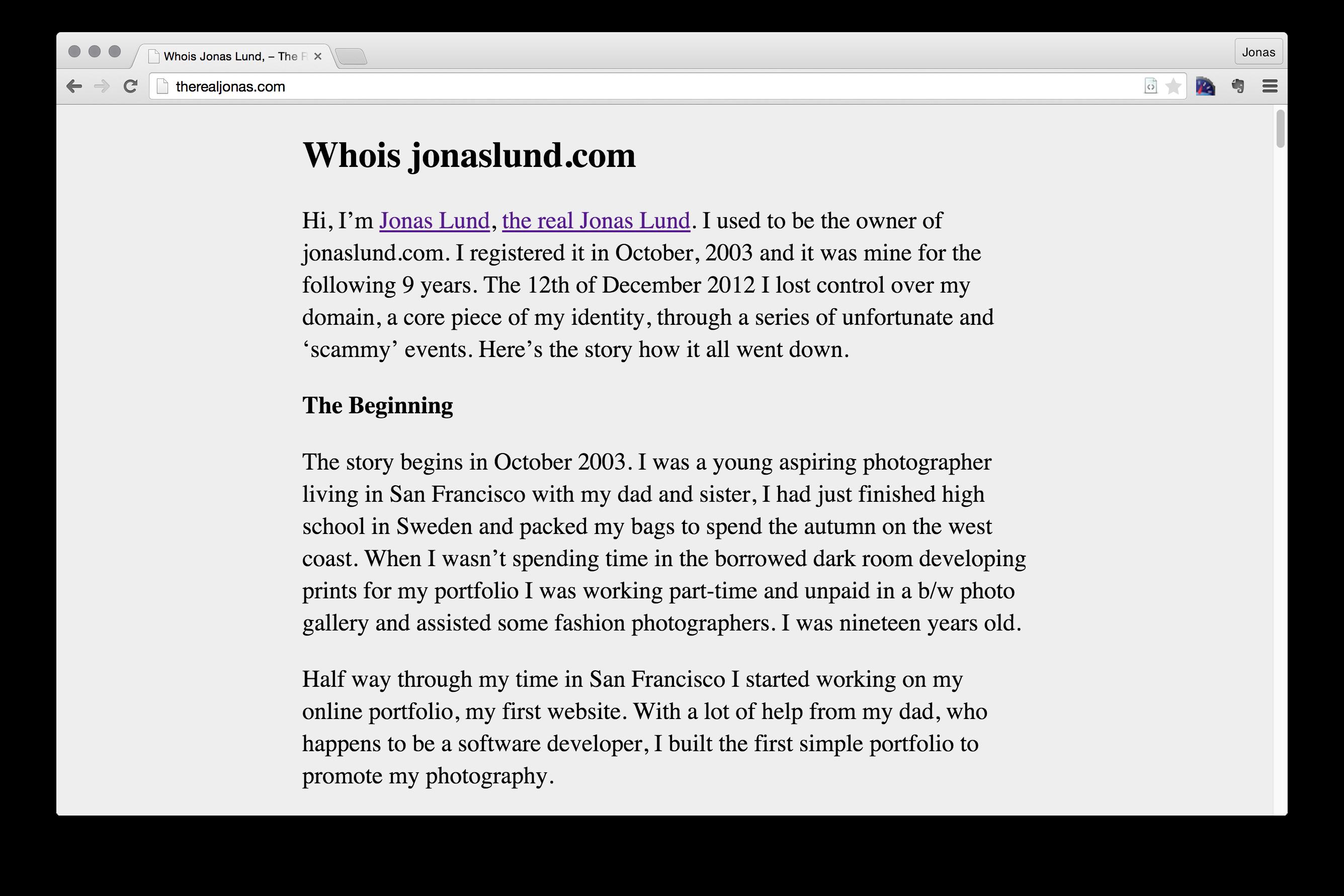 Jonas Lund The Real Jonas (whois jonaslund.com)