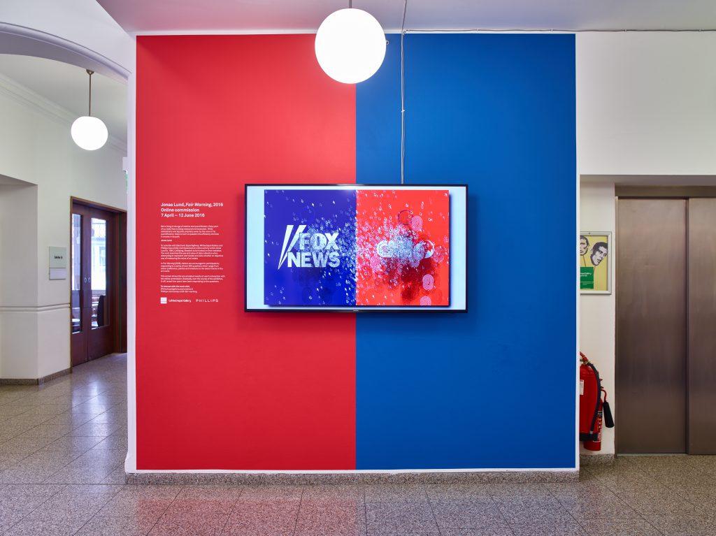 Jonas Lund, Fair Warning (2016), Installation View at Whitechapel Gallery. Photo: Stephen White
