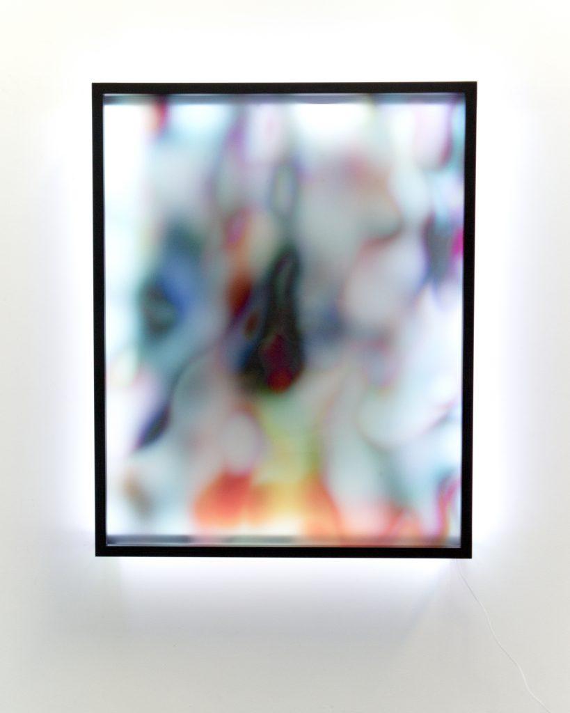 New Now 3, UV print on plexiglass, metal frame and LED strip, 127x103x15cm