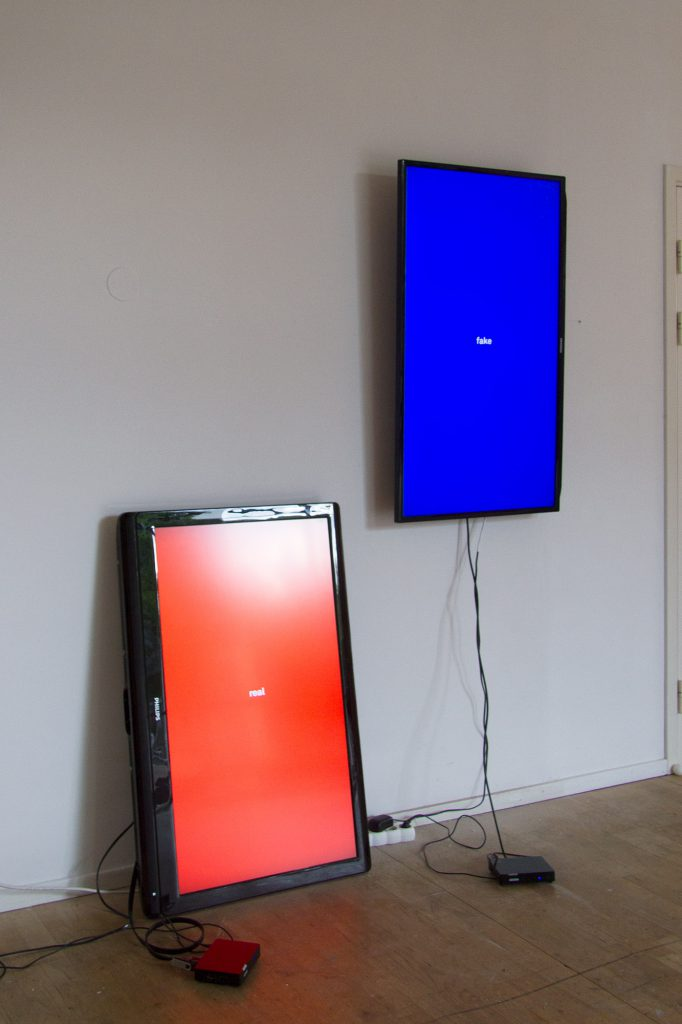 """Push/Pull, 46"""" Phillips TV, WD media player, 48"""" Samsung TV, Roxcore media player, cables. 14 minutes 4 seconds"""