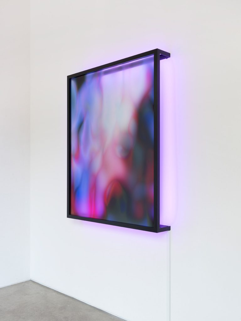 New Now 4, UV print on plexiglass, metal frame and LED strip, 127x103x15cm
