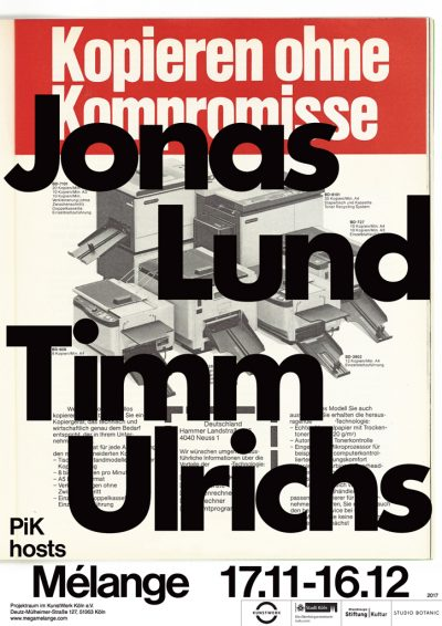 Jonas Lund JONAS LUND & TIMM ULRICHS at PIK / MELANGE